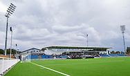Hovedtribunen ved indvielsen af Helsingør Kommunes nye stadion på Gl. Hellebækvej i Helsingør den 8. august 2019 (Foto: Claus Birch)