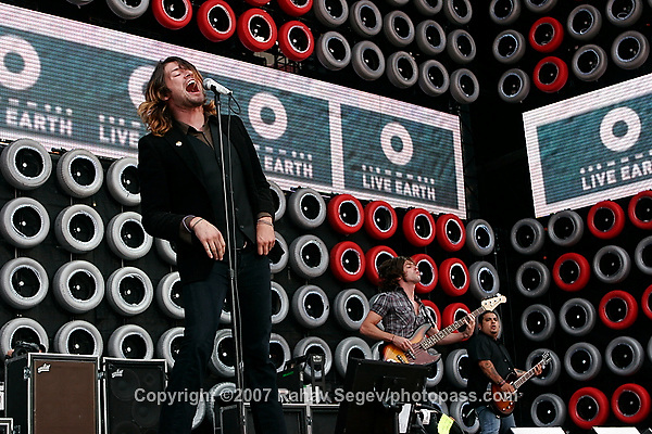 Taking Back Sunday with performing at Giant's Stadium during Live Earth on July 7,  2007. ..Adam Lazzara -vocals.Fred Mascherino - guitar