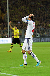 14.09.2013, Signal Iduna Park, Dortmund, GER, 1. FBL, Borussia Dortmund vs Hamburger SV, 5. Runde, im Bild Kapitaen Rafael van der Vaart #23 (Hamburger SV) fasst sich enttaeuscht an den Kopf, Emotion, // during the German Bundesliga 5th round match between Borussia Dortmund and Hamburger SV at the Signal Iduna Park, Dortmund, Germany on 2013/09/14. EXPA Pictures &copy; 2013, PhotoCredit: EXPA/ Eibner/ Joerg Schueler<br /> <br /> ***** ATTENTION - OUT OF GER *****