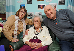 Pictured: Janet with her son and daughter in law Donald and Louise Mackay.<br /> <br /> Janet Mackay, who was born in 1910, the year George VII died and four years before the start of the First World War, celebrated her 109th birthday at her care home in Broxburn, West Lothian today, Tuesday.<br /> <br /> © Dave Johnston/ EEm
