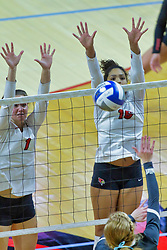 BLOOMINGTON, IL - October 12: Ali Line and Lexi Varga during a college Women's volleyball match between the ISU Redbirds and the Valparaiso Crusaders on October 12 2018 at Illinois State University in Bloomington, IL. (Photo by Alan Look)