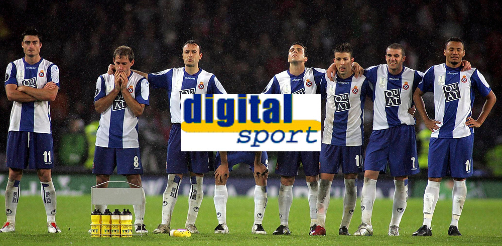 Photo: Paul Thomas.<br /> Espanyol v Sevilla. UEFA Cup Final. 16/05/2007.<br /> <br /> Espanyol dejectetion.