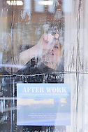 Canada, Ontario. Windsor, 2016.Collette Broders works on the window display at one ten park studio for After Work, a multimedia presentation about migrant workers in Essex County.