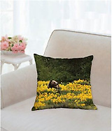GRIZZLY IN THE WILDFLOWERS Pillow