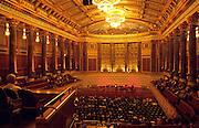 Deutschland Germany Hessen.Hessen, Wiesbaden.Kurhaus, Friedrich-von-Thiersch-Saal mit Zuschauern vor Konzert., Spa House, Friedrich-von-Thiersch Hall...
