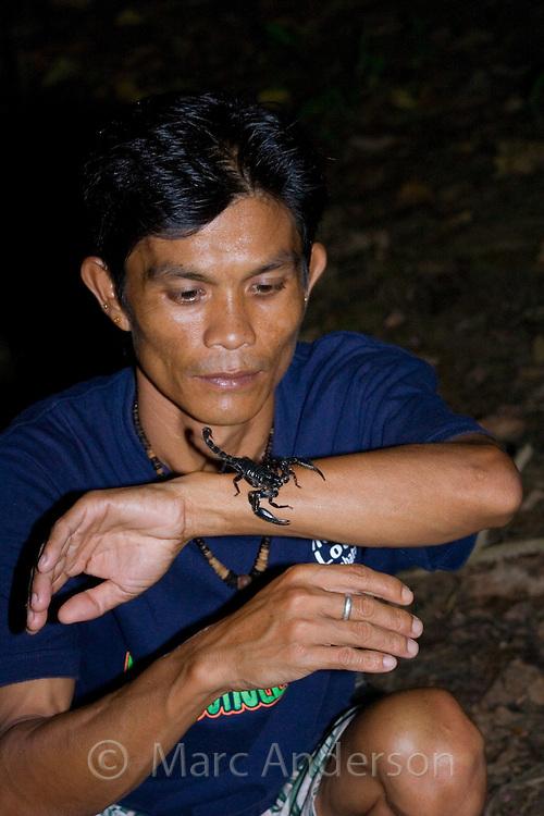 A man holding a scorpion, Sabah, Malaysia.