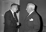 11/09/1962<br /> 09/11/1962<br /> 11 September 1962<br /> Ford International Fellowship Award for Ireland. In the Constitution Room of the Shelbourne Hotel, Dublin, 26 year old Sligo born Mr Patrick Joseph McGowan, M.Econ.Sc., of the Economic Division of the Central Bank of Ireland, who was leaving for the United States on the 13th as the Ford International Fellow for Ireland for 1962, was wished success in his studies by The U.S. Ambassador and members of An Bord Seolaireachtai Comalairte. Picture shows:  Mr Patrick McGowan chatting with His Excellency Matthew McCloskey (centre) U.S. Ambassador to Ireland. Mr McGowan would leave from Cobh to spend a year at Princeton University, U.S.A. as Ford International Fellow for Ireland 1962.