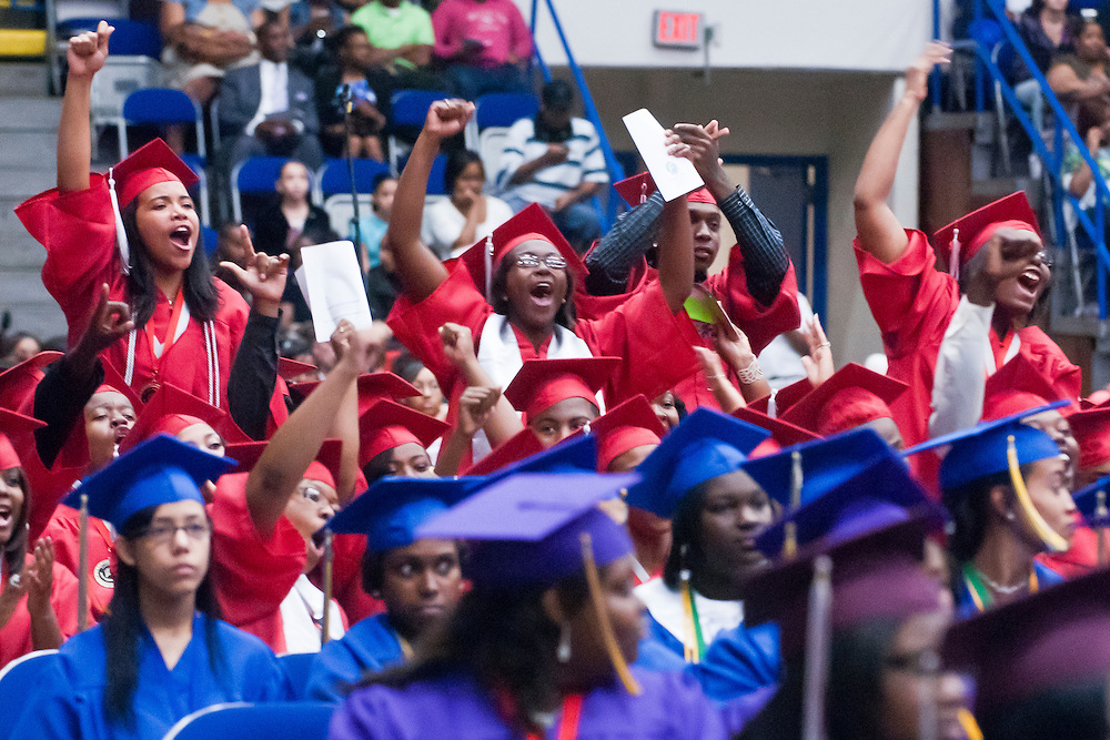 Lathan Goumas | MLive.com..Northern High School students cheer during the 2012 Flint Community Schools commencement ceremony at the Perani Arena in Flint, Mich. on Tuesday June 5, 2012.
