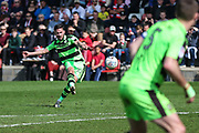 Forest Green Rovers Chris Clements(22) takes a free kick during the EFL Sky Bet League 2 match between Cheltenham Town and Forest Green Rovers at LCI Rail Stadium, Cheltenham, England on 14 April 2018. Picture by Shane Healey.