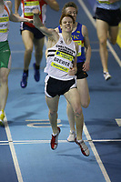 Photo: Rich Eaton.<br /> <br /> Norwich Union European Indoor Trials and UK Championships, Sheffield. 11/02/2007.  James Brewer of Cheltenham Harriers celebrates winning the 800 metres as he crosses the line