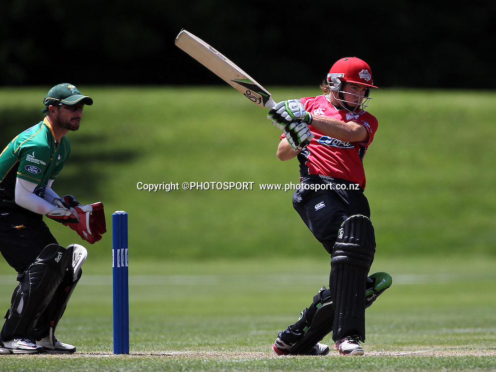 Canterbury Wizards batsmen Tom Latham batting during his innings against Central Stags with Central wicket keeper Krugervan Wyk. Canterbury Wizards v Central Stags, 1-Day Ford Trophy Game held at Mainpower Oval, Rangiora, Friday 25 November 2011. Photo : Joseph Johnson / photosport.co.nz
