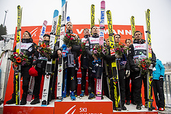 March 9, 2019 - Oslo, NORWAY - 190309 Team Japan, team Norway and team Austria at the podium after the men team competition during the FIS Ski-Jumping World Cup on March 9, 2019 in Oslo..Photo: Fredrik Varfjell / BILDBYRÃ…N / kod FV / 150213. (Credit Image: © Fredrik Varfjell/Bildbyran via ZUMA Press)