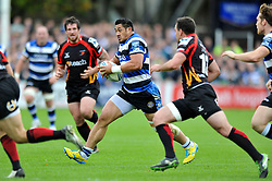 Bath flanker Alafoti Fa'aosiliva goes on the attack - Photo mandatory by-line: Patrick Khachfe/JMP - Tel: Mobile: 07966 386802 19/10/2013 - SPORT - RUGBY UNION - Recreation Ground - Bath - Bath V Newport Gwent Dragons - Amlin Challenge Cup