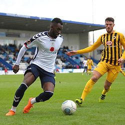 TELFORD COPYRIGHT MIKE SHERIDAN 10/11/2018 - Amari Morgan-Smith of AFC Telford on the ball  during the Vanarama Conference North fixture between AFC Telford United and Boston United.