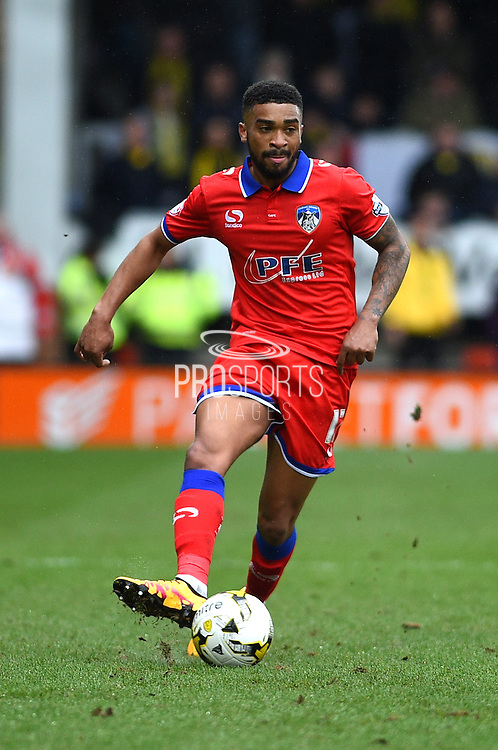 Oldham Athletic defender Tareip Holmes-Dennis during the Sky Bet League 1 match between Burton Albion and Oldham Athletic at the Pirelli Stadium, Burton upon Trent, England on 26 March 2016. Photo by Jon Hobley.