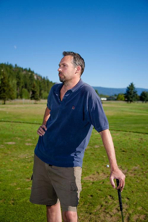 Sam Barker playing golf for lighting test