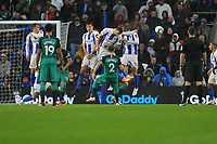 Football - 2018 / 2019 Premier League - Brighton and Hove Albion vs. Tottenham Hotspur<br /> <br /> Kieran Trippier of Tottenham has his free kick blocked by the arm of Glenn Murray of Brighton at The Amex Stadium Brighton <br /> <br /> COLORSPORT/SHAUN BOGGUST