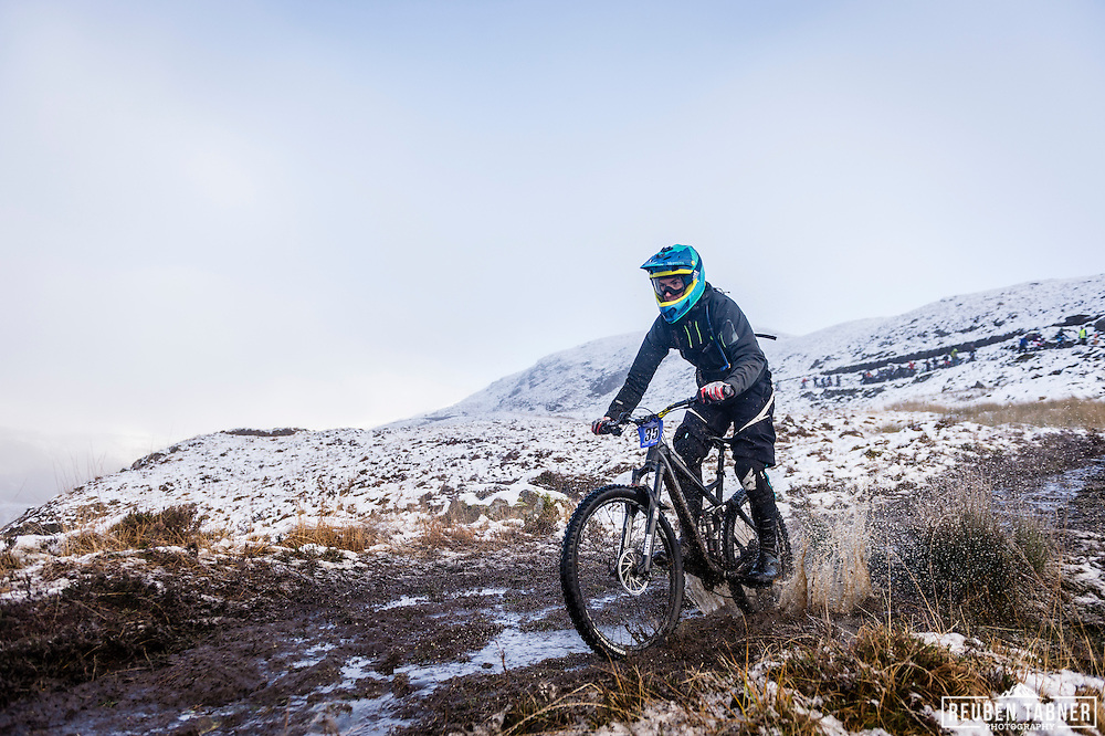 Joe Connell creates a splash at the top of stage one of the Kinlochleven Enduro.
