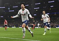 Football - 2019 / 2020 Premier League - Tottenham Hotspur vs. Sheffield United<br /> <br /> Tottenham Hotspur's Son Heung-Min celebrates scoring the opening goal, at Tottenham Hotspur Stadium.<br /> <br /> COLORSPORT/ASHLEY WESTERN