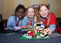 Abigail Mwungeli, Niamh Scarry and Katie Davitt from Scoil Rois Knocknacarra at the Galway Education centre's Junior First Lego League at the Radisson Blu hotel. Photo:Andrew Downes, xposure.