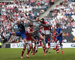 Arsenal Ladies goalkeeper Emma Byrne (1) misses the cross  - Photo mandatory by-line: Nigel Pitts-Drake/JMP - Tel: Mobile: 07966 386802 01/06/2014 - SPORT - FOOTBALL - LADIES - Stadium mk - Milton Keynes - Arsenal Ladies v Everton Ladies - The FA Women's Cup Final