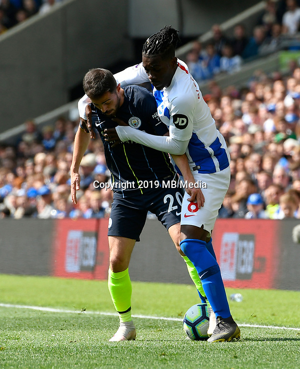 BRIGHTON, ENGLAND - MAY 12:  Bernardo Silva (20) of Manchester City battles for possession with Yves Bissouma (8) of Brighton and Hove Albion during the Premier League match between Brighton & Hove Albion and Manchester City at American Express Community Stadium on May 12, 2019 in Brighton, United Kingdom. (MB Media)