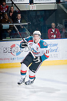 KELOWNA, CANADA, FEBRUARY 8: Colton Sissons #15 of the Kelowna Rockets skates on the ice as the Seattle Thunderbirds visit the Kelowna Rockets on February 8, 2012 at Prospera Place in Kelowna, British Columbia, Canada (Photo by Marissa Baecker/www.shootthebreeze.ca) *** Local Caption ***