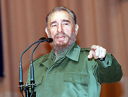 FIDEL ALEJANDRO CASTRO RUZ (August 13, 1926 - November 25, 2016), commonly known as Fidel Castro, was a Cuban politician and revolutionary who governed the Republic of Cuba as Prime Minister from 1959 to 1976 and then as President from 1976 to 2008. Castro was a controversial and divisive world figure. FILE PICTURE: Dec 20, 2000; Havana, CUBA; FIDEL CASTRO addresses a large groupe of students @ a gathering in Havana, Cuba on December 20,2000..  (Credit Image: Tom Keck/ZUMAPRESS.com)
