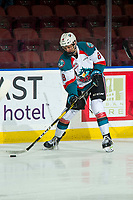 KELOWNA, CANADA - FEBRUARY 6: Jackson DeSouza #8 of the Kelowna Rockets warms up on the ice against the Spokane Chiefs on February 6, 2019 at Prospera Place in Kelowna, British Columbia, Canada.  (Photo by Marissa Baecker/Shoot the Breeze)