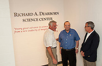 Councilor Bob Hamel, Dick Dearborn and School Board Chair Joe Cormier following the dedication ceremony of the new Science Center at Laconia High School Thursday evening.  (Karen Bobotas/for the Laconia Daily Sun)
