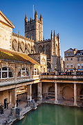 Iconic Roman baths in the centre of Bath, now surrounded by many eras of other historical development. The original baths dedicated to the gods of Sulis Minerva / Aqaue Sulis.