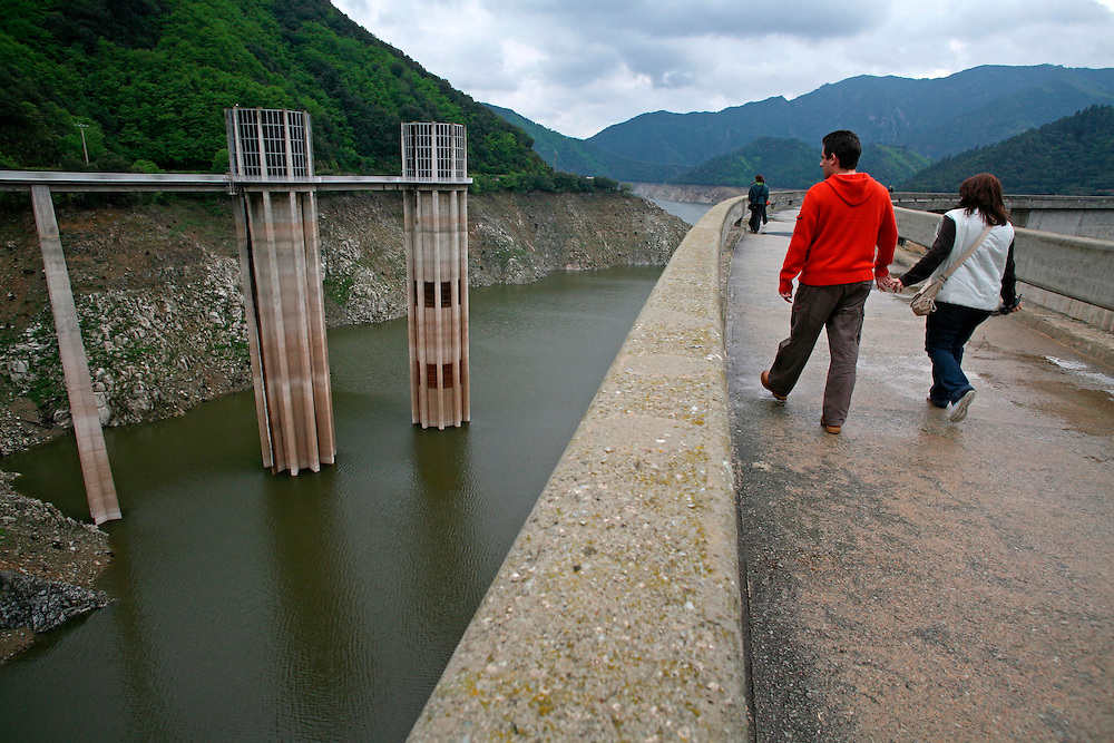 2008, march. Extreme drought in Catalonia. The dam of the marsh of Susqueda (Girones, Catalonia. Spain) under minimums due to the lack of rain in the last months.