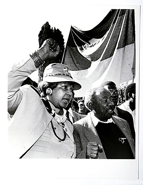 Copy of a vintage print by Joao Silva. Winnie Mandela.
