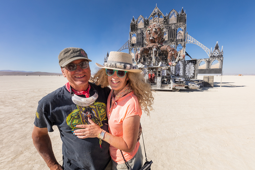 Duane and Micki in front of their El Pulpo Mecanico Mutant Vehicle and Reared In Steel's Fire Kethedral