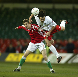 CARDIFF, WALES - WEDNESDAY FEBRUARY 9th 2005: Wales' Simon Davies and Hungary's Zoltan Gera during the International Friendly match at the Millennium Stadium. (Pic by Jason Cairnduff/Propaganda)