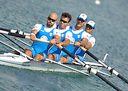 Munich, GERMANY, ITA M4-, Bow, Carlo MORNATI, Alesso SARTORI, Niccolo MORNATI and Lorenzo CARBONCINI,  Sunday 26.08.2007, opening day on the  Munich Olympic Regatta Course, venue for 2007 World Rowing Championship, Bavaria. [Mandatory Credit. Peter Spurrier/Intersport Images]..... , Rowing Course, Olympic Regatta Rowing Course, Munich, GERMANY