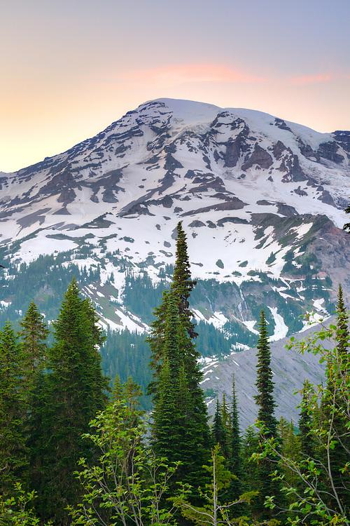 Mount Rainier summit at Mount Rainier National Park, Washington State, USA