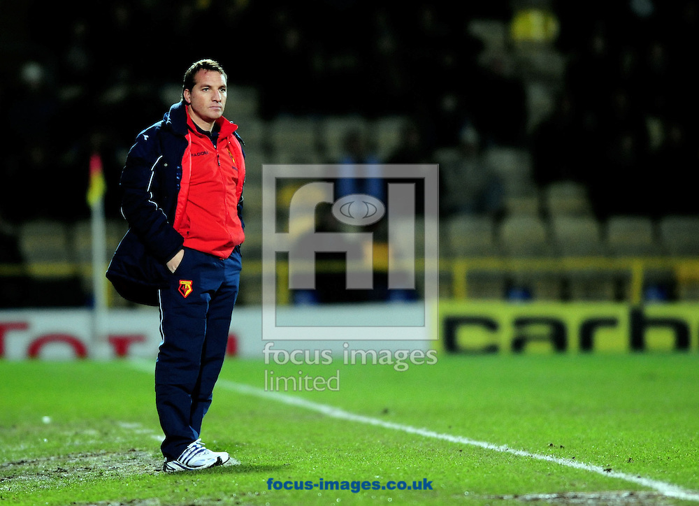 London - Tuesday, January 27th, 2009: Brendon Rogers, manager  of Watford, pictured during a league game in January. Rogers and his team will face his former employers Chelsea in the FA Cup this weekend.<br /> (Pic by Daniel Hambury/Focus Images)
