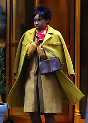 "Jennifer Hudson wears a fashionable yellow outfit as she wraps filming the Aretha Franklin biopic ""Respect"" in Manhattan's City Hall area. 15 Feb 2020 Pictured: Jennifer Hudson. Photo credit: LRNYC / MEGA TheMegaAgency.com +1 888 505 6342"