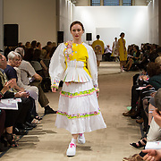 13.05.2016.           <br /> A model showcases designs by Mara Kuvika titled 'Wanderlust'  at the much anticipated Limerick School of Art & Design, LIT, (LSAD) Graduate Fashion Show on Thursday 12th May 2016. The show took place at the LSAD Gallery where 27 graduates from the largest fashion degree programme in Ireland showcased their creations. Ranked among the world's top 50 fashion colleges, Limerick School of Art and Design is continuing to mold future Irish designers.. Picture: Alan Place/Fusionshooters