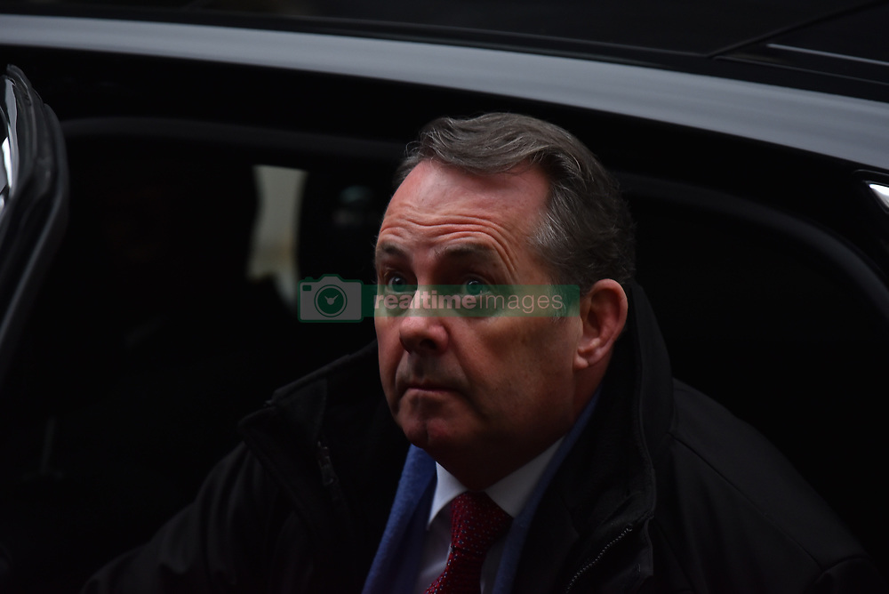 December 18, 2018 - London, England, United Kingdom - International Trade Secretary Liam Fox arrives at 10 Downing Street to attend the last Cabinet meeting before the Christmas recess, London on December 18, 2018. The cabinet will discuss whether the government should ramp up preparations for a no-deal Brexit when it meets. (Credit Image: © Alberto Pezzali/NurPhoto via ZUMA Press)