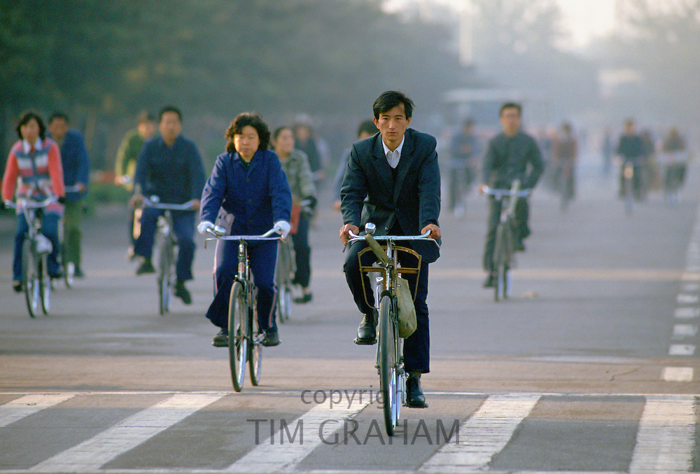 Cyclists in Beijing, China RESERVED USE - NOT FOR DOWNLOAD -  FOR USE CONTACT TIM GRAHAM