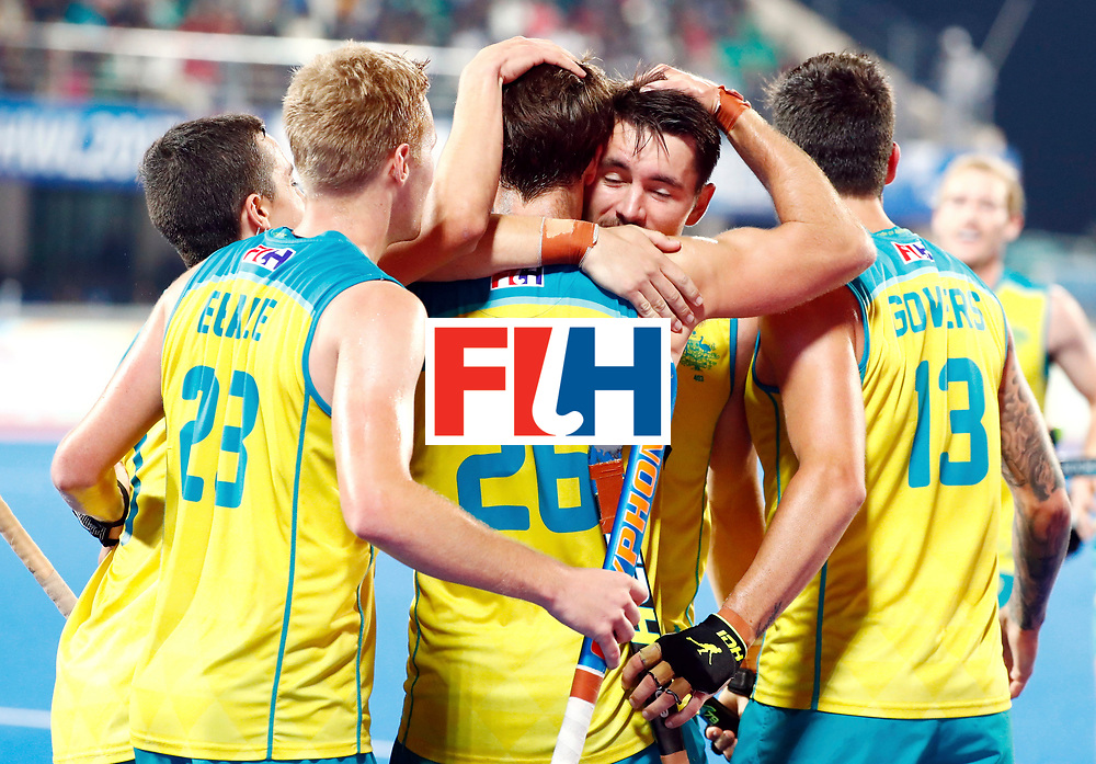 Odisha Men's Hockey World League Final Bhubaneswar 2017<br /> Match id: 20<br /> Australia v Germany<br /> Foto:Dylan Wotherspoon (Aus) scored 1-1<br /> COPYRIGHT WORLDSPORTPICS KOEN SUYK