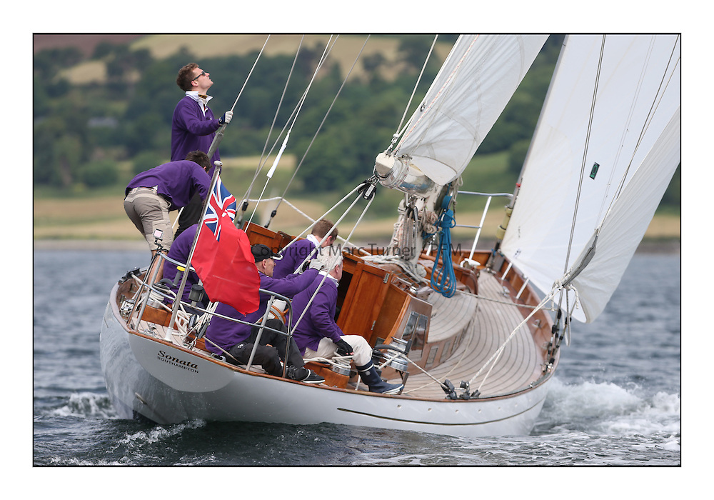 Day three of the Fife Regatta, Cruise up the Kyles of Bute to Tighnabruaich<br /> Sonata, Patrick  Caiger-Smith, GBR, Bermudan Sloop, Wm Fife 3rd, 1950<br /> <br /> * The William Fife designed Yachts return to the birthplace of these historic yachts, the Scotland&rsquo;s pre-eminent yacht designer and builder for the 4th Fife Regatta on the Clyde 28th June&ndash;5th July 2013<br /> <br /> More information is available on the website: www.fiferegatta.com