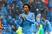 Leroy Sane (19) of Manchester City applauds, claps the fans at full time after a 5-0 win over Cardiff during the Premier League match between Cardiff City and Manchester City at the Cardiff City Stadium, Cardiff, Wales on 22 September 2018.