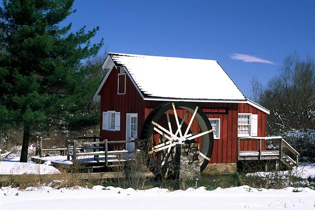 Kimberton Mill; snow; water wheel, Kimberton, PA, winter