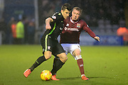 York City Midfielder Michael Coulson battles with Northampton Town Midfielder Nicky Adams during the Sky Bet League 2 match between Northampton Town and York City at Sixfields Stadium, Northampton, England on 6 February 2016. Photo by Dennis Goodwin.