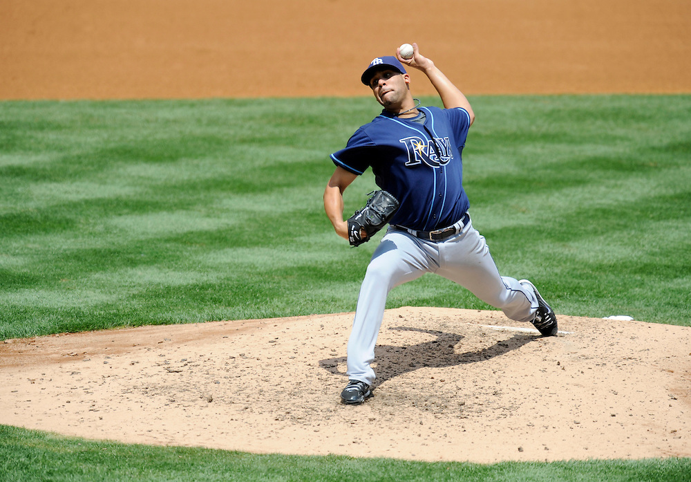 NEW YORK - JUNE 06: David Price #14 of the Tampa Bay Rays pitches against the New York Yankees on June 6, 2009 at Yankee Stadium in the Bronx borough of New York City. The Rays defeated the Yankees 9 to 7. (Photo by Rob Tringali) *** Local Caption *** David Price
