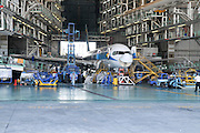 Israel, Ben-Gurion international Airport maintenance working on a Sun D'or Boeing 757 in a maintenance hanger