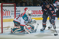 KELOWNA, CANADA - MARCH 24: Michael Herringer #30 of the Kelowna Rockets defends the net against the Kamloops Blazers on March 24, 2017 at Prospera Place in Kelowna, British Columbia, Canada.  (Photo by Marissa Baecker/Shoot the Breeze)  *** Local Caption ***